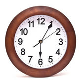 Close up of an office clock on white background — Stock Photo