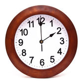 Wooden wall clock isolated on white background — Stock Photo