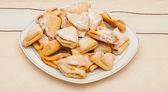 りんごジャムと一緒に自家製コテージ チーズ クッキー — ストック写真