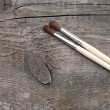 Stock Photo: Old wood texture and paintbrush