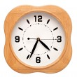Big wood wall clock on white, isolated — Stok fotoğraf