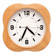 Big wood wall clock on white, isolated — Foto Stock
