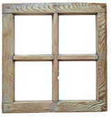 孤立在白色的非常老 grunged 木窗口框架 — 图库照片