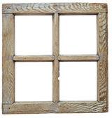 Velmi staré grunged dřevěný okenní rám izolované v bílém — Stock fotografie