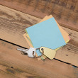 Note paper and home keys with blank tag on wood background — Foto Stock