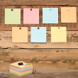 Bulletin board with colorful note papers — Stock Photo
