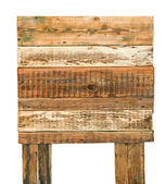 Old weathered wood sign isolated on white background — Stock Photo