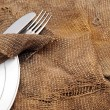 Close up fork and knife on textile napkin — Foto de Stock