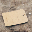 图库照片: Old sack burlap background texture and price tag