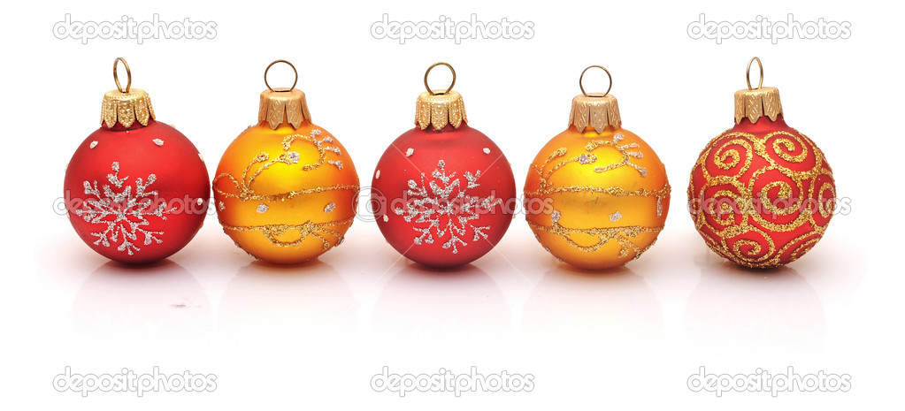 Christmas red baubles isolated on white background — Stock Photo #14739793