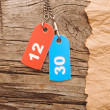 Two colorful tags with numbers on vintage background — Stock fotografie
