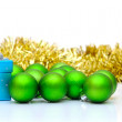 Gift box and christmas green balls isolated on white — Stock Photo