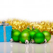 Gift box and christmas green balls isolated on white — Stock Photo #16085327