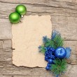 Christmas ball with paper and christmas decorations  — Stockfoto