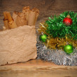 Christmas decoration on wooden table — Foto Stock