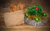 Christmas decoration on wooden table — Stock fotografie