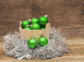 Christmas decoration on wooden plank — Stok fotoğraf
