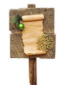 木製の記号およびクリスマスの装飾を風化します。 — ストック写真