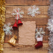 Christmas decoration and vintage paper on the wood background — Stock Photo