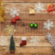 Christmas decoration on the wooden wall - Stock Photo