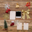 Stock Photo: Christmas decoration on wooden wall