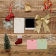 Christmas decoration with old photo frame on the wooden wall — Stock Photo