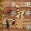 Christmas decoration on the wooden wall — Stock Photo #16865155