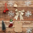 Christmas decoration on the wooden wall — Stock Photo #16865181