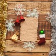 Christmas decoration on the wooden wall — ストック写真