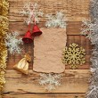 Christmas decoration on the wooden wall — Stock fotografie