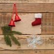 Christmas decoration on the wooden wall — Stock Photo #16866603
