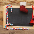 Blank blackboard with christmas decoration — Stock Photo #16867023