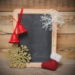 Blank blackboard with christmas decoration — Stock Photo