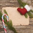 Christmas background with blank old parchment and christmas boot — Foto Stock