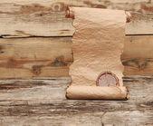 Antika rulla med vax tätning på träbord — Stockfoto