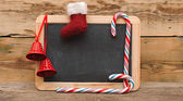 Blank blackboard with christmas decoration — Stock Photo