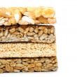 Honey bars with peanuts on white background - Foto de Stock