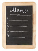 Menu blackboard. a space for writing on a black background. — Stock Photo