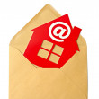 E-Mail and Home Symbol, concept of online Real Estate — Stock Photo