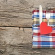 Cutlery set with colorful napkin and heart — Foto de stock #20014507