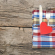 Cutlery set with colorful napkin and heart — Stock Photo #20014507