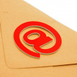 Envelope with at symbol, concept of E-mail — Stock Photo
