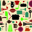 Cute kitchen pattern. Illustration of kitchen tools for cooking - Stok Vektör