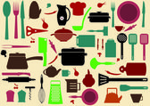 Cute kitchen pattern. Illustration of kitchen tools for cooking — Stok Vektör