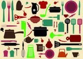 Niedliche küche muster. illustration der küchengeräte zum kochen — Stockvektor