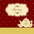Cute polkdot brown tetime background print — Vecteur #21700107