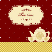 Cute polka dot brown tea time background print — ストックベクタ