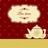 Sevimli polka dot kahverengi çay zaman arka planda yazdırma — Stok Vektör
