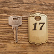 Close up shot of hotel room key shot on wooden background — Stock Photo #22428451