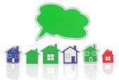 Model domu symbol s prázdná bublina projevu izolované na svatodušní — Stock fotografie